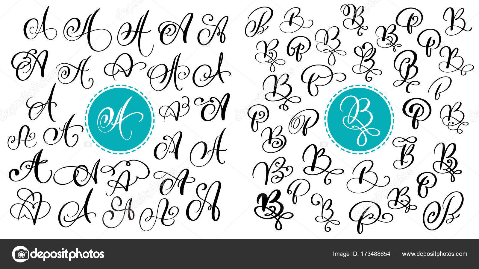 Set Of Hand Drawn Vector Calligraphy Letter A And B Script Font Isolated Letters