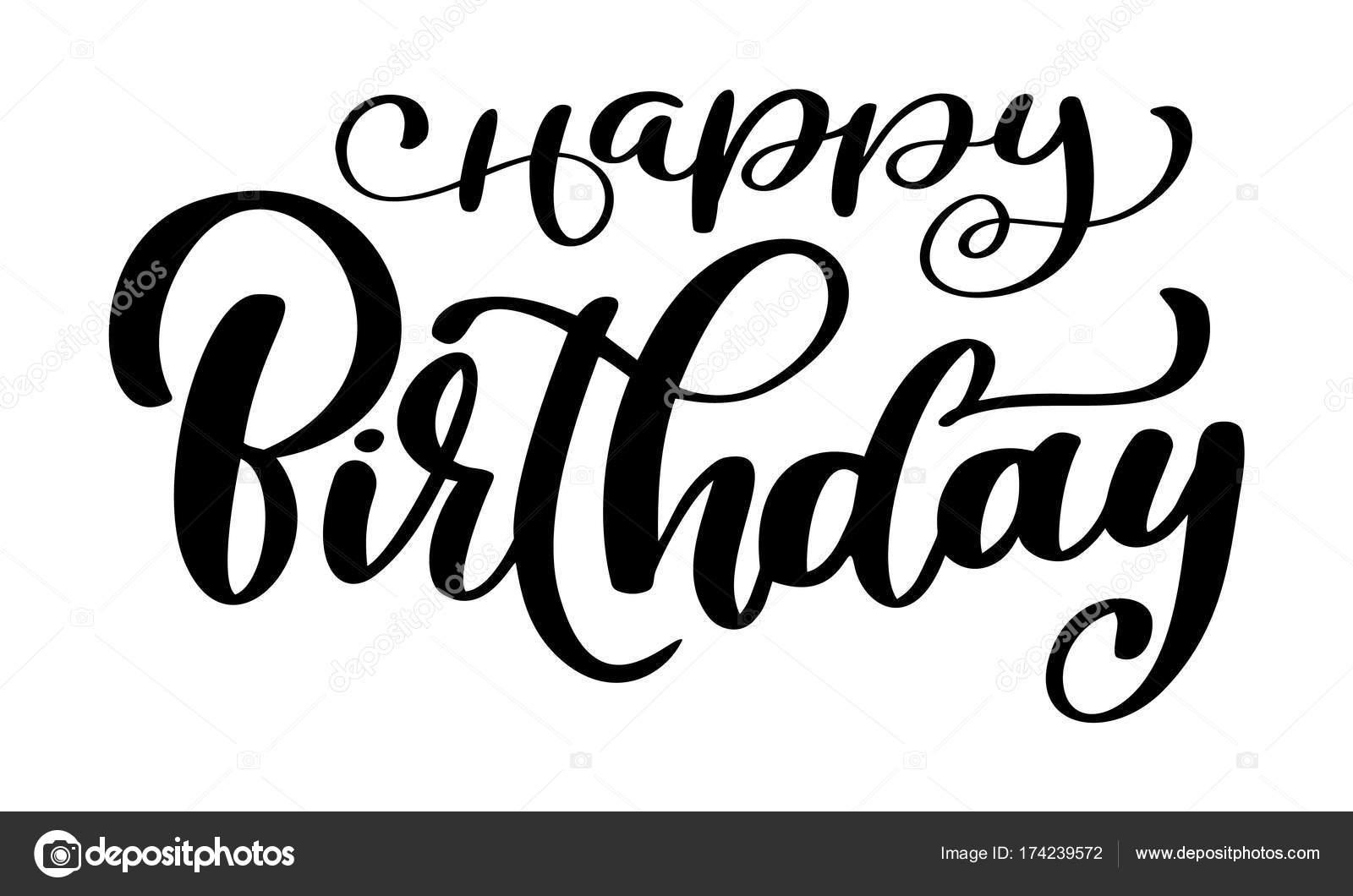 Glucklich BirthdayBeautiful Grusskarte Zerkratzt Kalligraphie Schwarzen Text Wort Gold Sterne Handgezeichnete Einladung T Shirt Print Design
