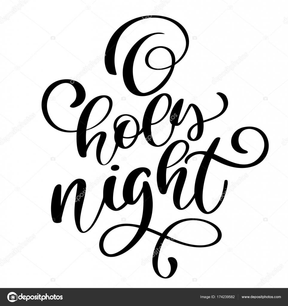Oh Noche Santa Letras Frase De Caligrafía De Vacaciones