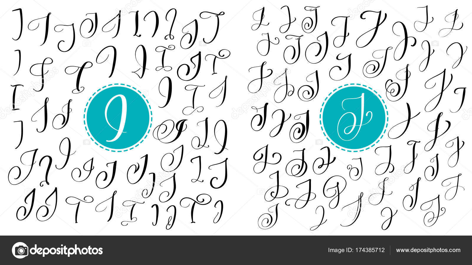Set Letters I J Hand Drawn Vector Flourish Calligraphy Script Font Isolated