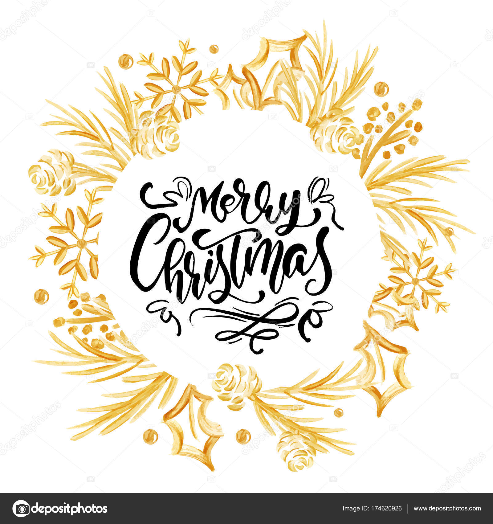 Merry Christmas Calligraphy.Merry Christmas Calligraphy Lettering Text And A Gold Wreath