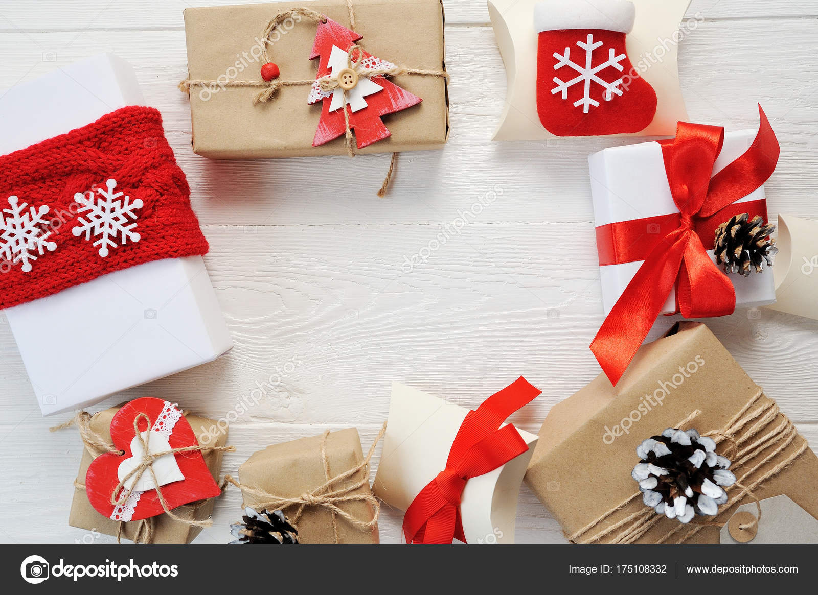 mockup christmas background christmas present red gifts box and decorating elements on white wooden background