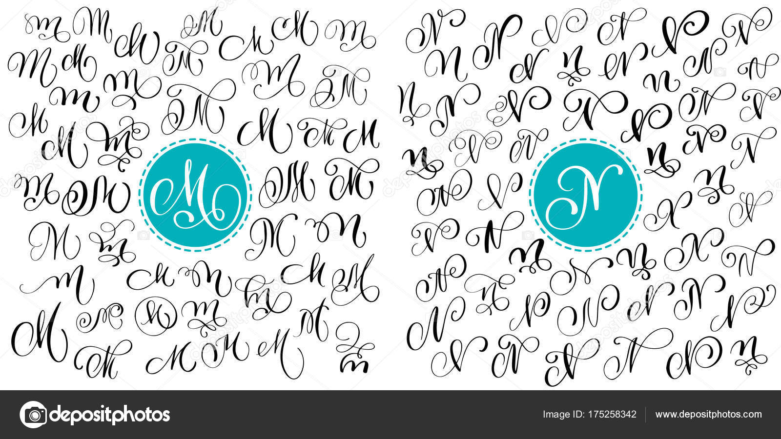 Set Letter M N Hand Drawn Vector Flourish Calligraphy Script Font Isolated