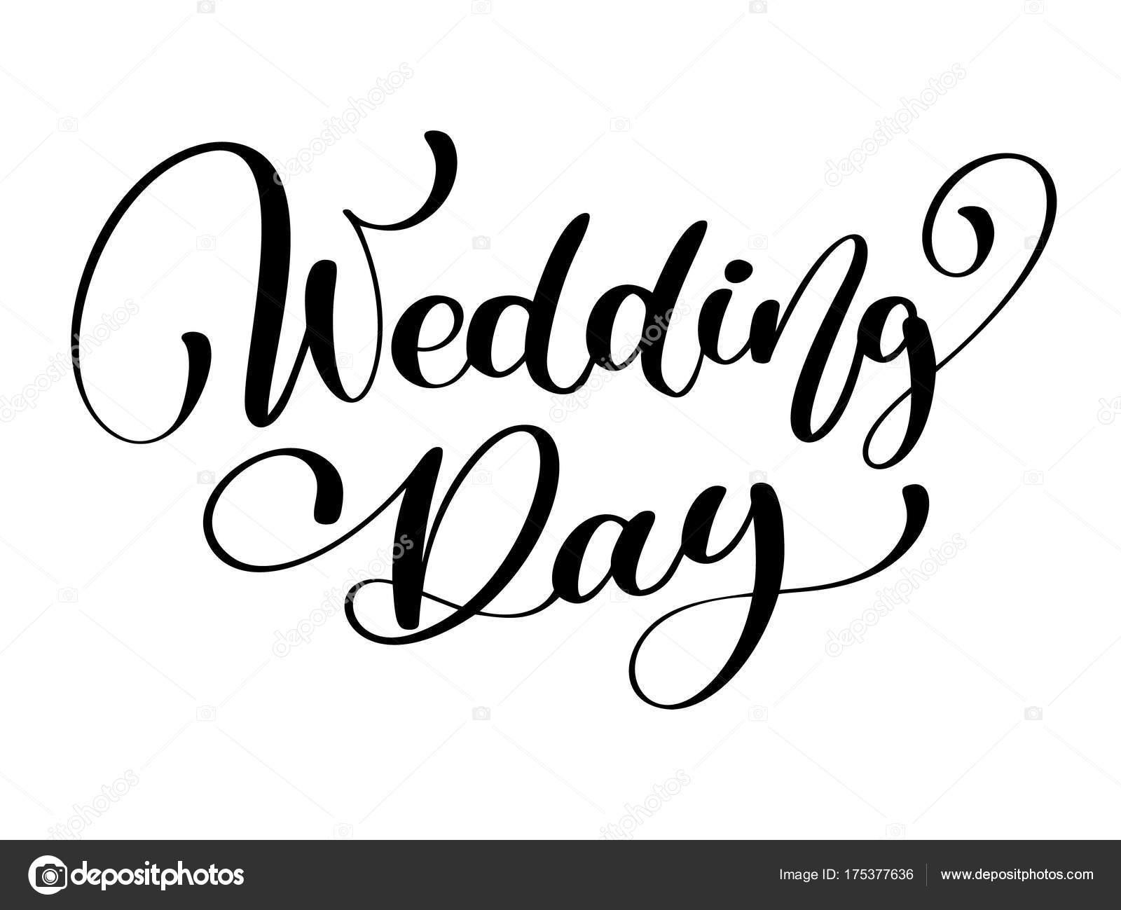 Hochzeit Tag Vektortext Auf Wei 223 Em Hintergrund