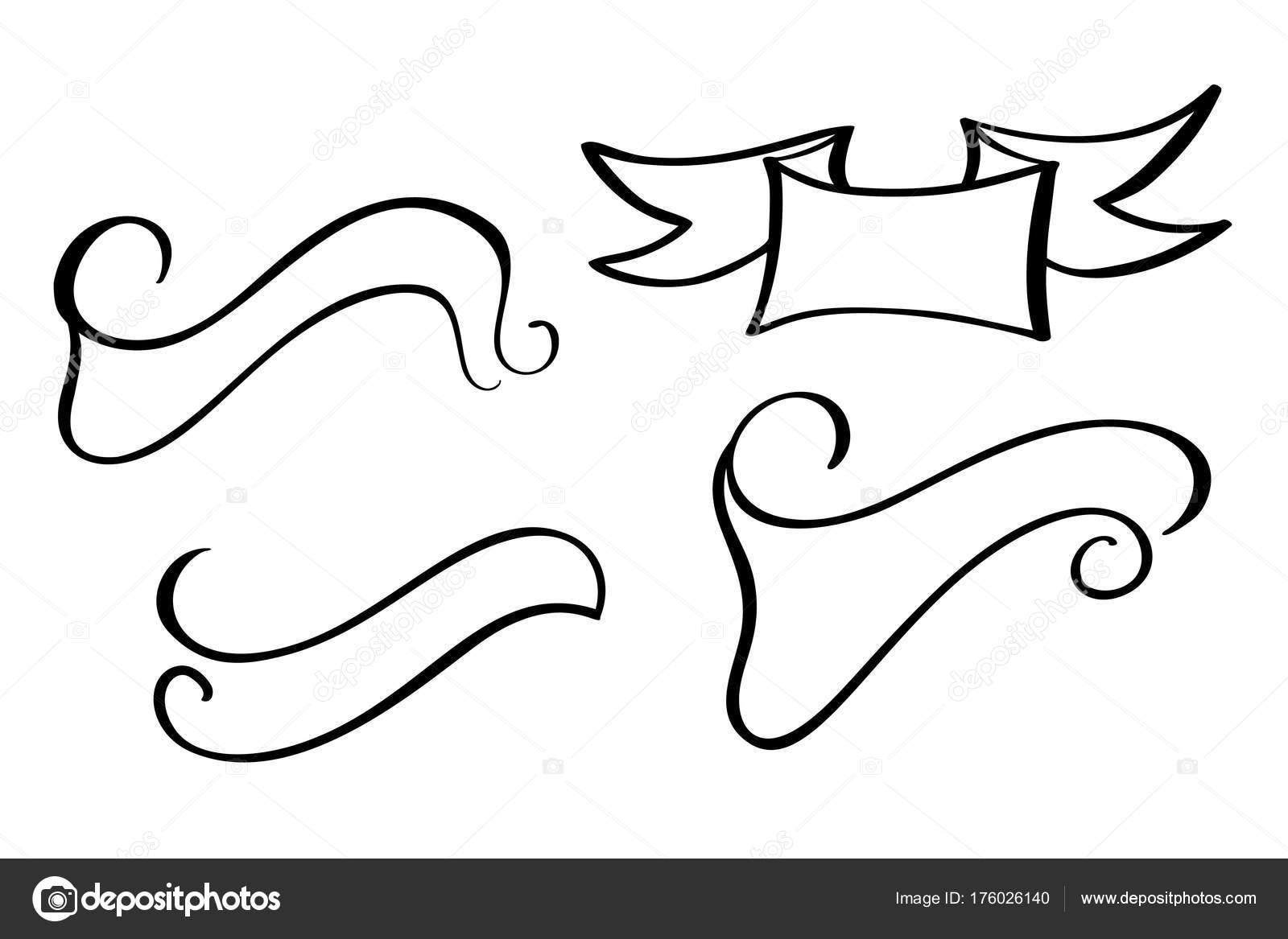 Line Art Ribbon : Set vintage ribbon banner vector. hand drawing style u2014 stock vector