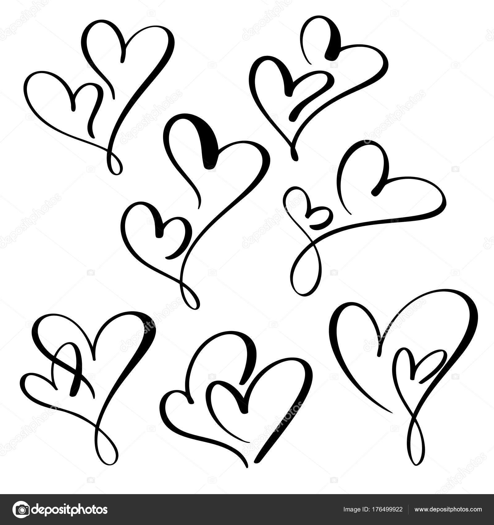Legen Sie zwei liebende Herzen. Handgemachte Vektor Kalligraphie ...