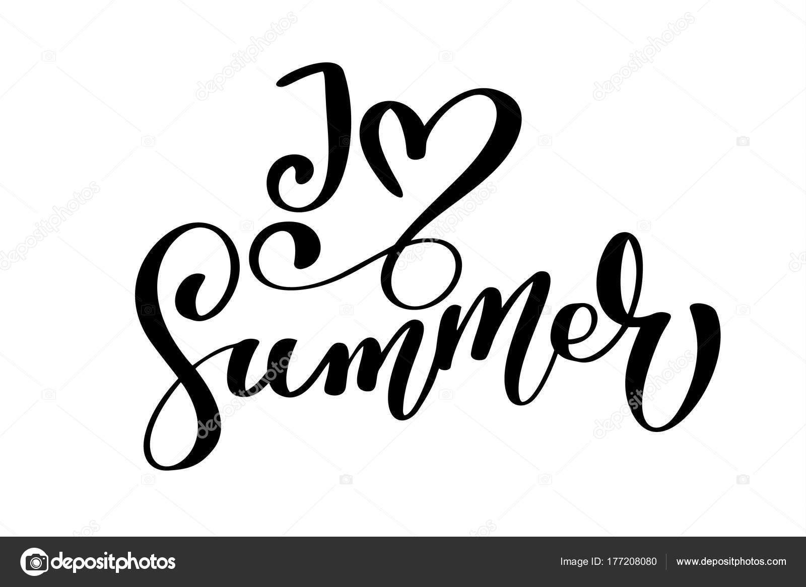 Citaten Over De Zomer : Ik hou van zomer tekst hand getrokken belettering handgeschreven
