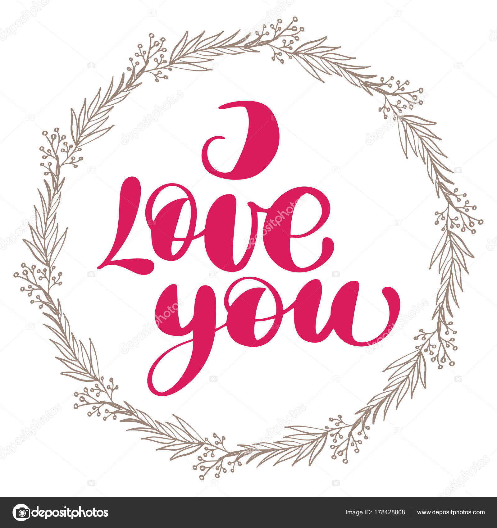 I love you with wreath. Valentines day calligraphy glitter card ...