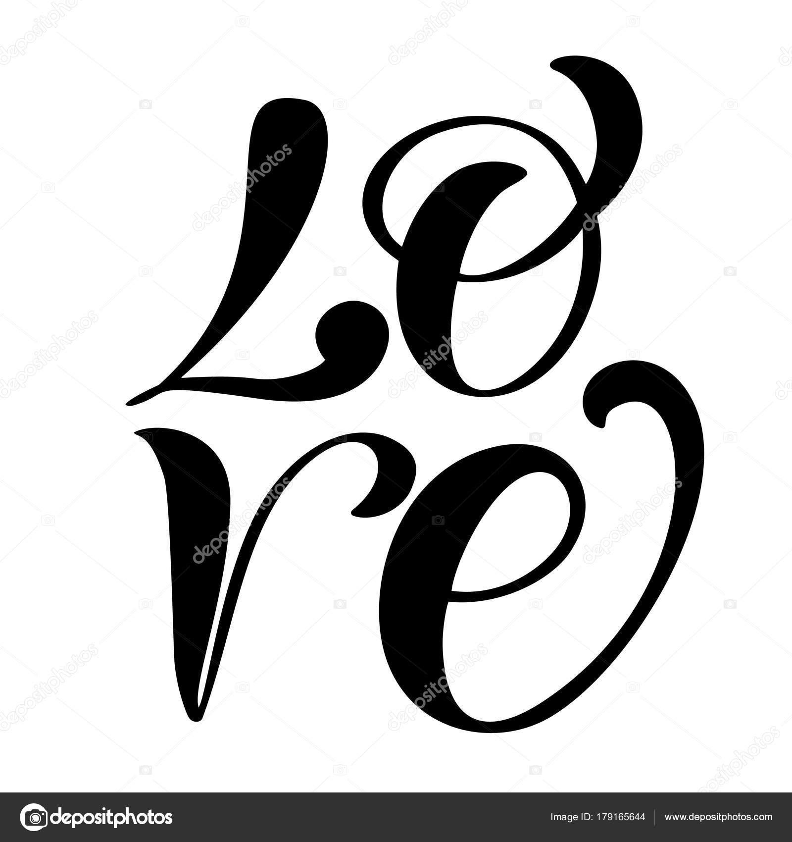 Handwritten Inscription Love Happy Valentines Day Card Romantic