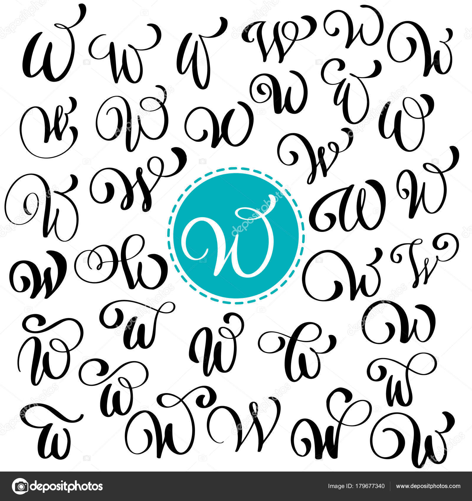 Set Of Hand Drawn Vector Calligraphy Letter W Script Font Isolated Letters Written With Ink Handwritten Brush Style Lettering For Logos Packaging