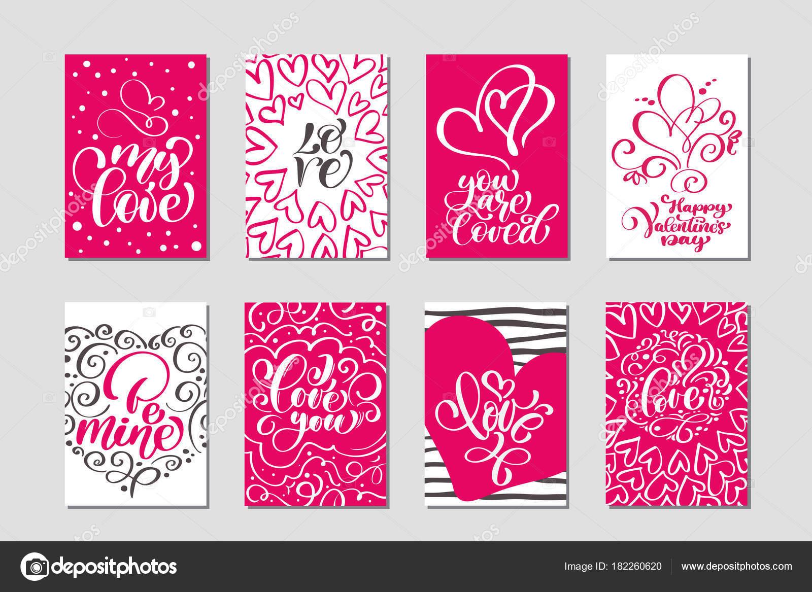 Festlegen Sie Liebe Vektor Valentines Tag Karten Vorlagen. Hand ...