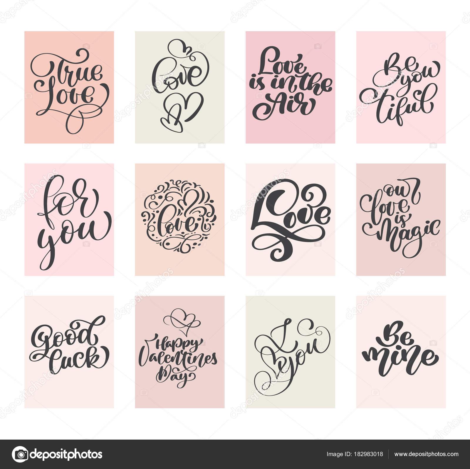 Kalligraphie Set Love Vector Valentinstag Karten Vorlagen. Hand ...