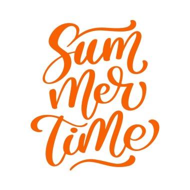Summer time lettering vector logo illusrtation, Modern Calligraphy lettering on white. Vector illustration stock vector