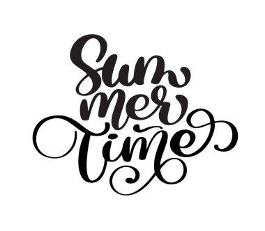 Hand drawn Summer time lettering vector logo illusrtation, Modern Calligraphy lettering on white. Vector illustration stock vector
