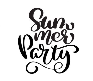 Hand drawn Summer Party lettering vector logo illusrtation, Modern Calligraphy lettering on white. Vector illustration stock vector
