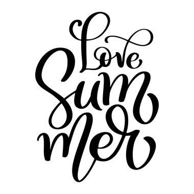 Hand drawn Love Summer lettering vector logo illusrtation, Modern Calligraphy lettering on white. Vector illustration stock vector