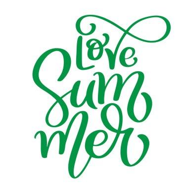 Love Summer Hand drawn lettering vector logo illusrtation, Modern Calligraphy lettering text on white. Vector illustration stock vector