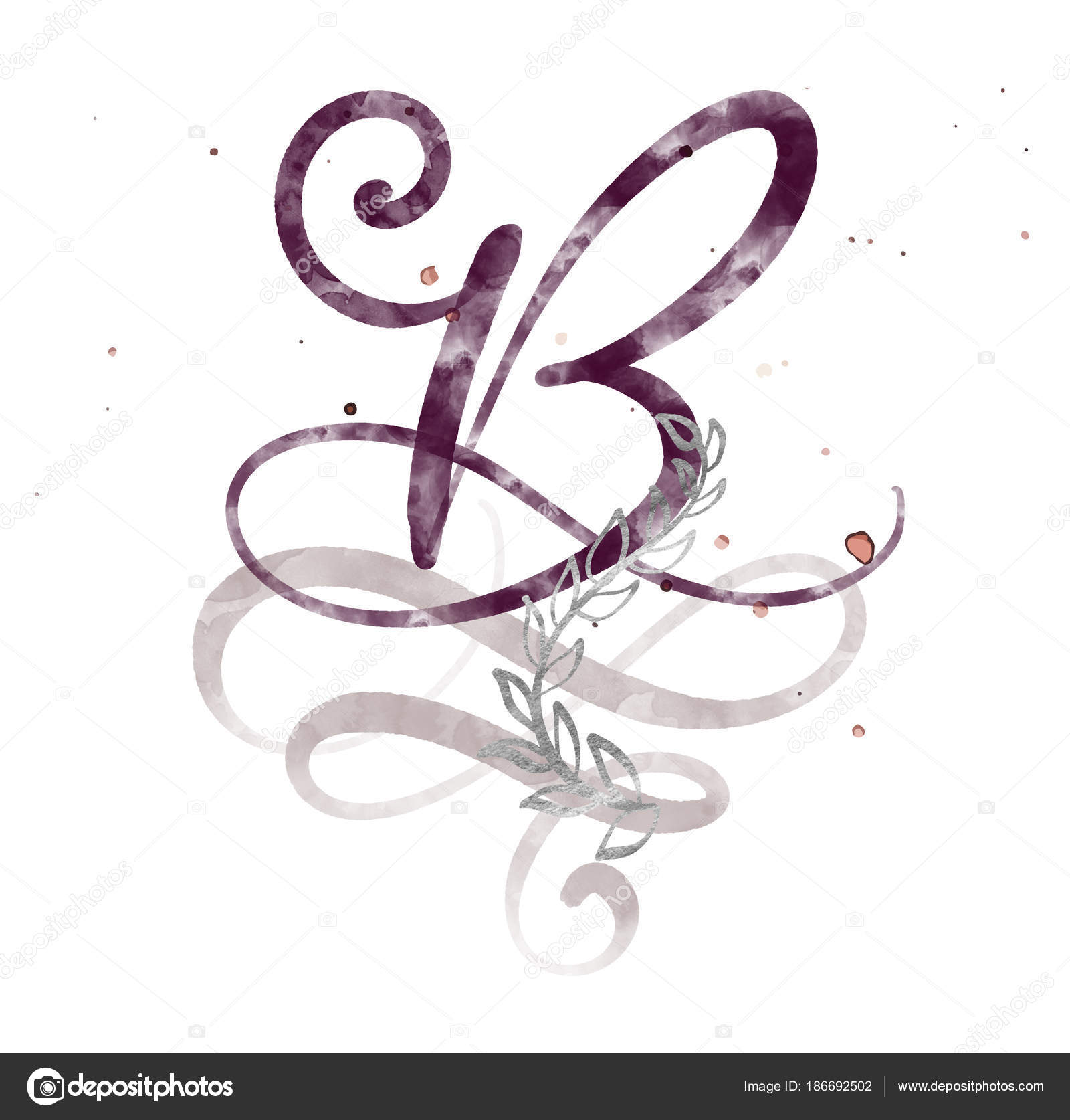 Hand Drawn Calligraphy Letter B Watercolor Script Font Isolated
