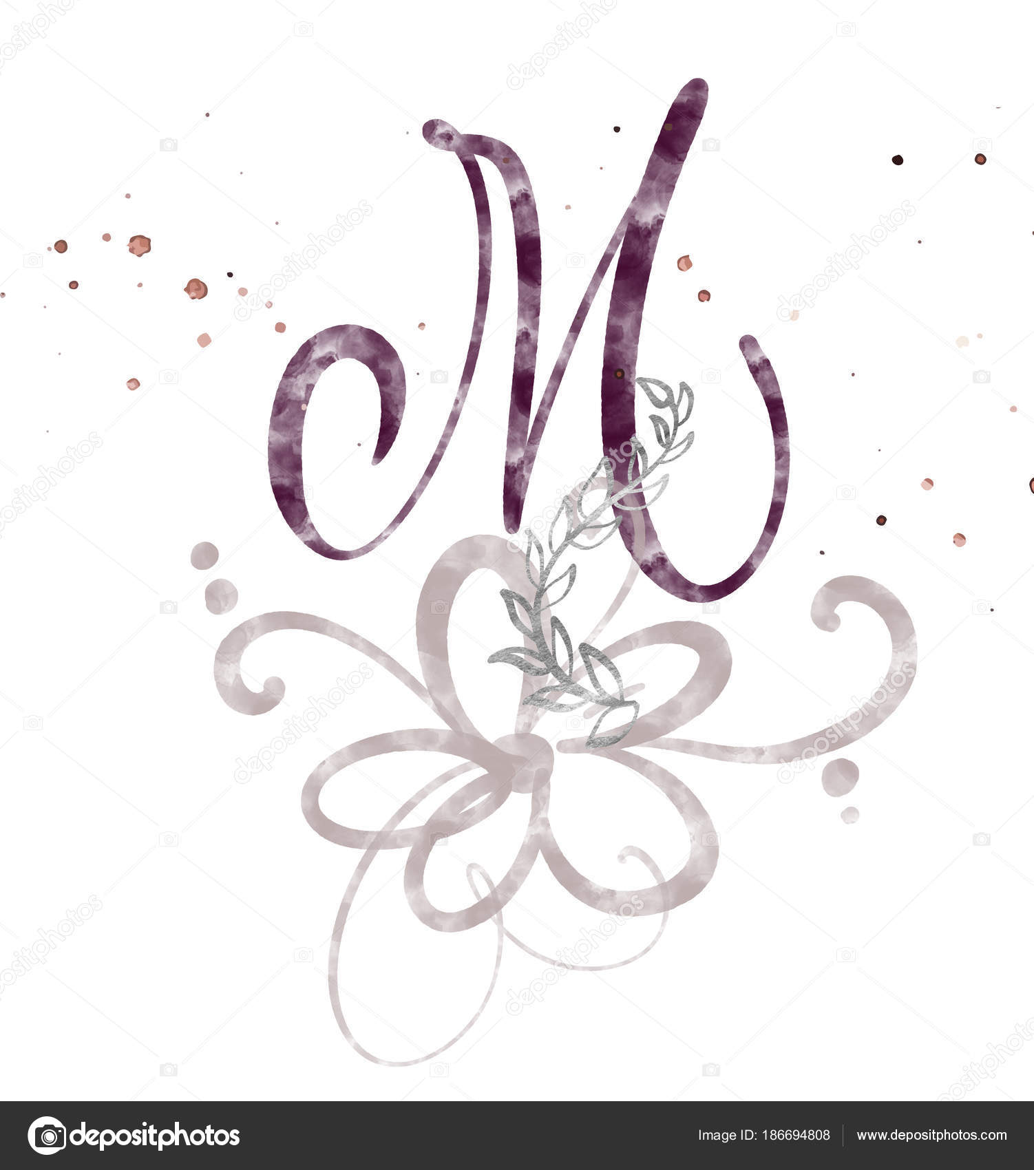 Hand Drawn Calligraphy Letter M Watercolor Script Font Isolated Letters Written With Ink
