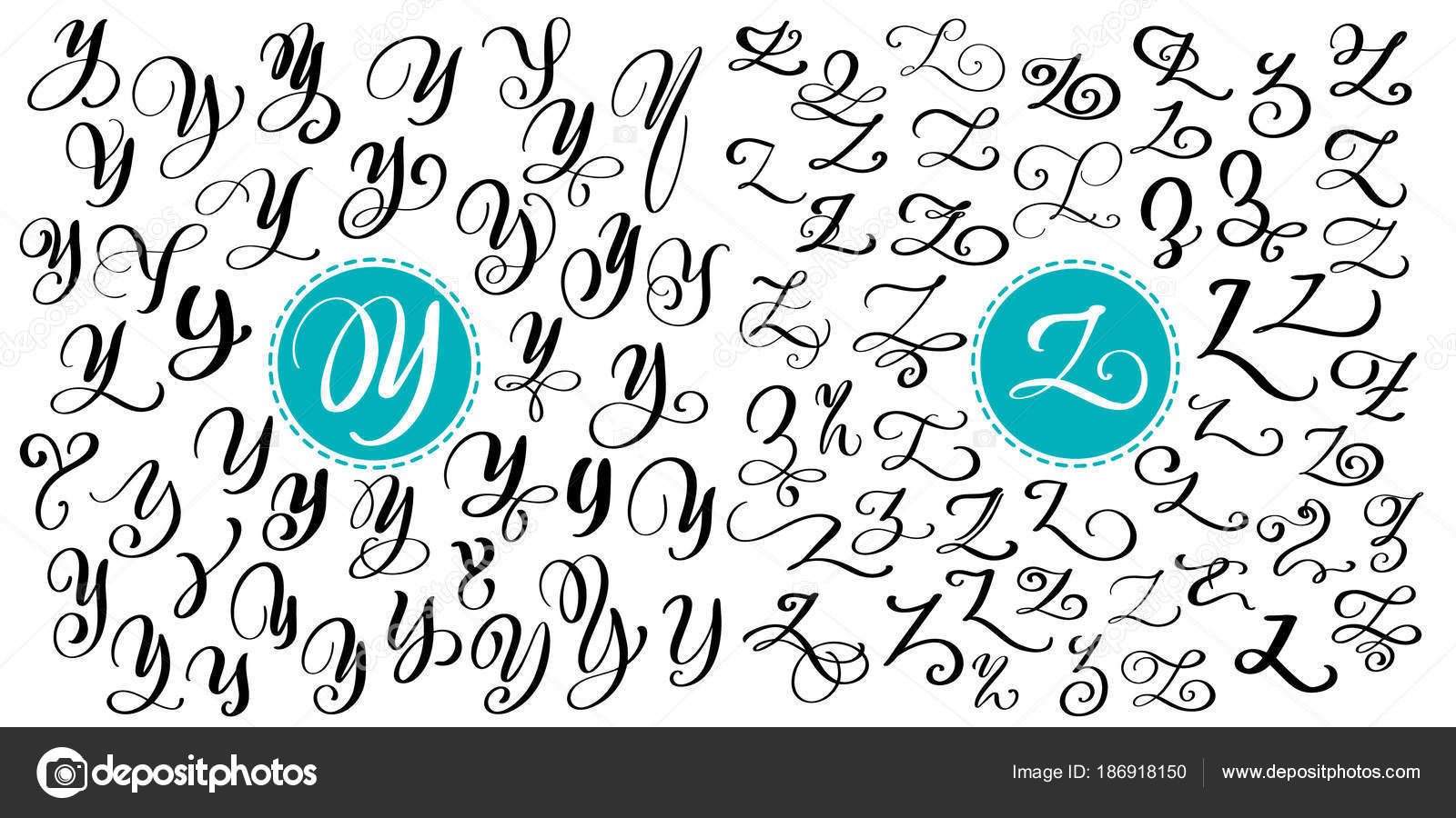 Hand Drawn Vector Calligraphy Letter Y Z Script Font Isolated Letters Written With