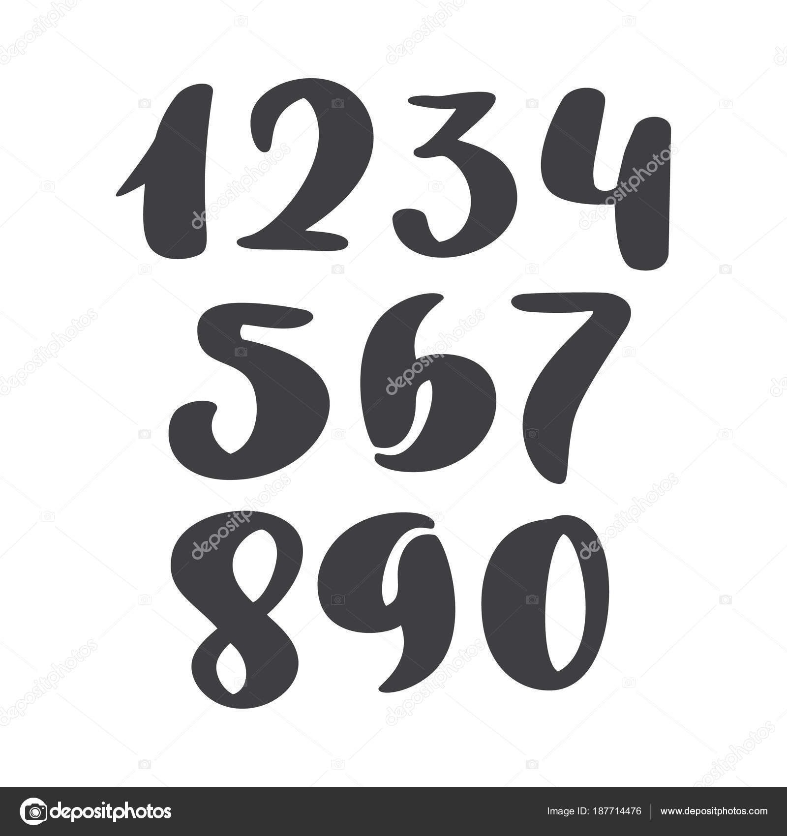 Vector set of calligraphic ink numbers abc for your design brush abc for your design brush lettering handwritten brush style modern cursive font isolated on white background vector by timonko biocorpaavc Image collections