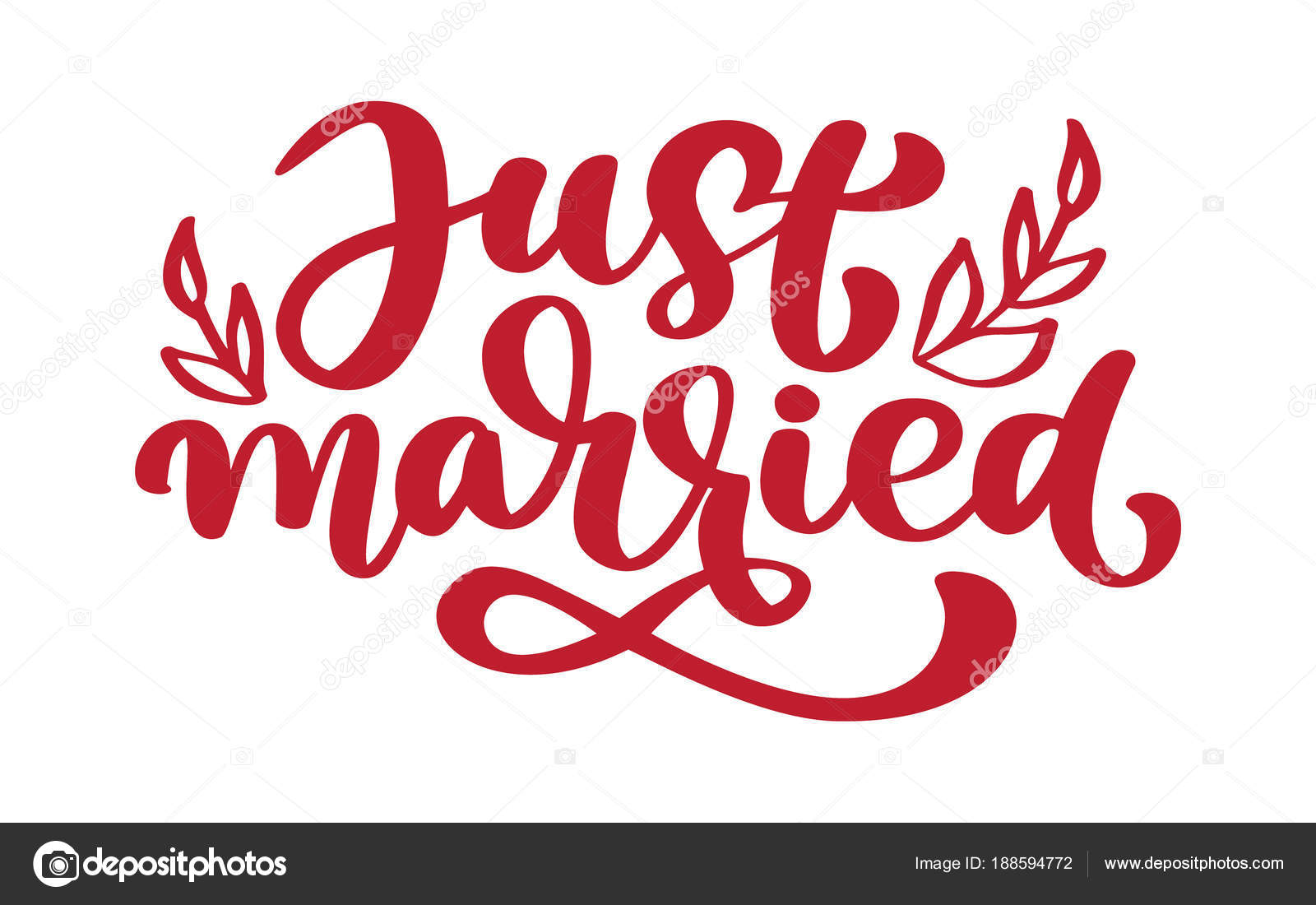 Just married hand lettering text for wedding cards and invitation just married hand lettering text for wedding cards and invitation vector illustration phrase isolated on stopboris Image collections