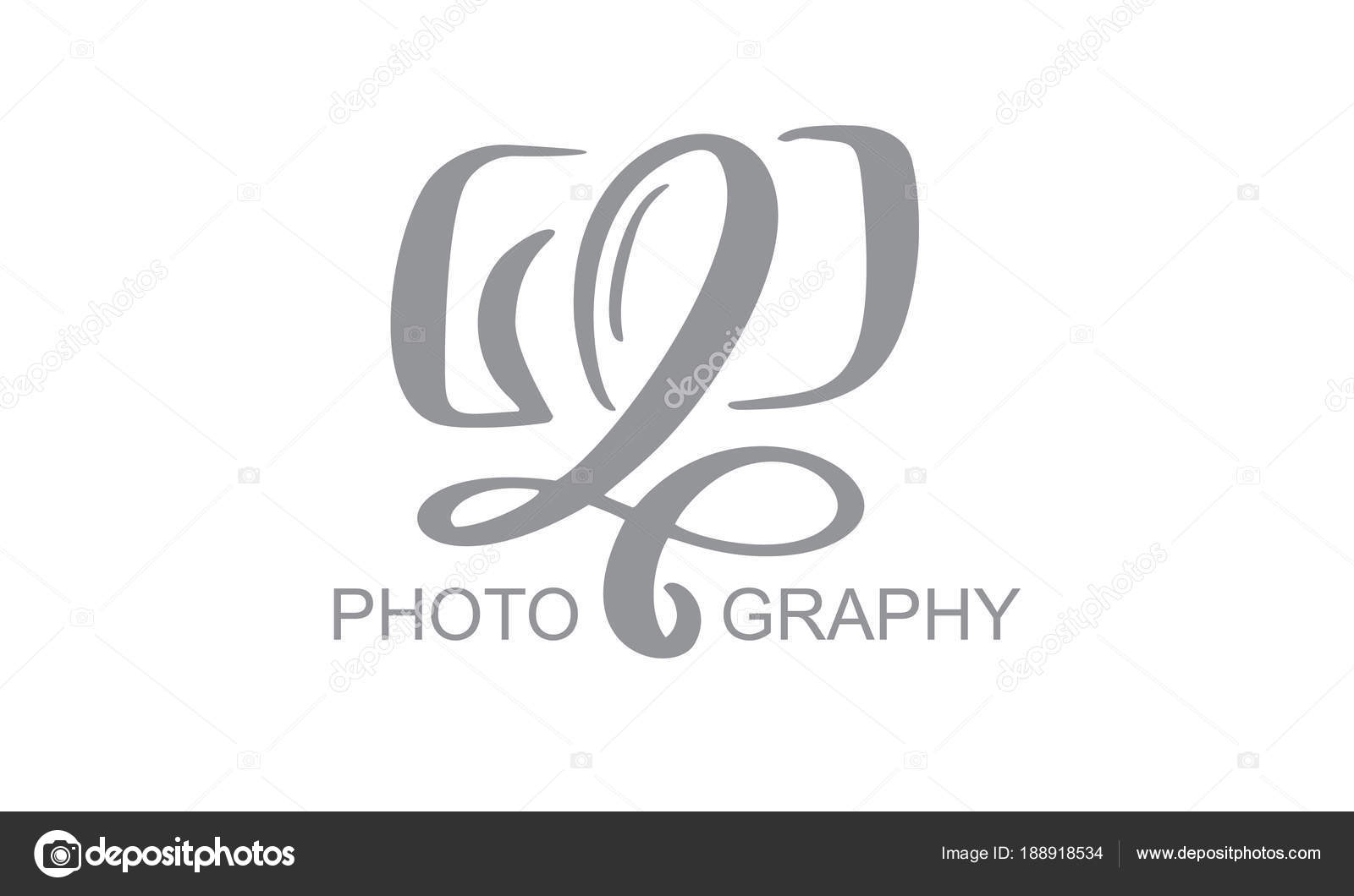 camera photography logo icon vector template calligraphic