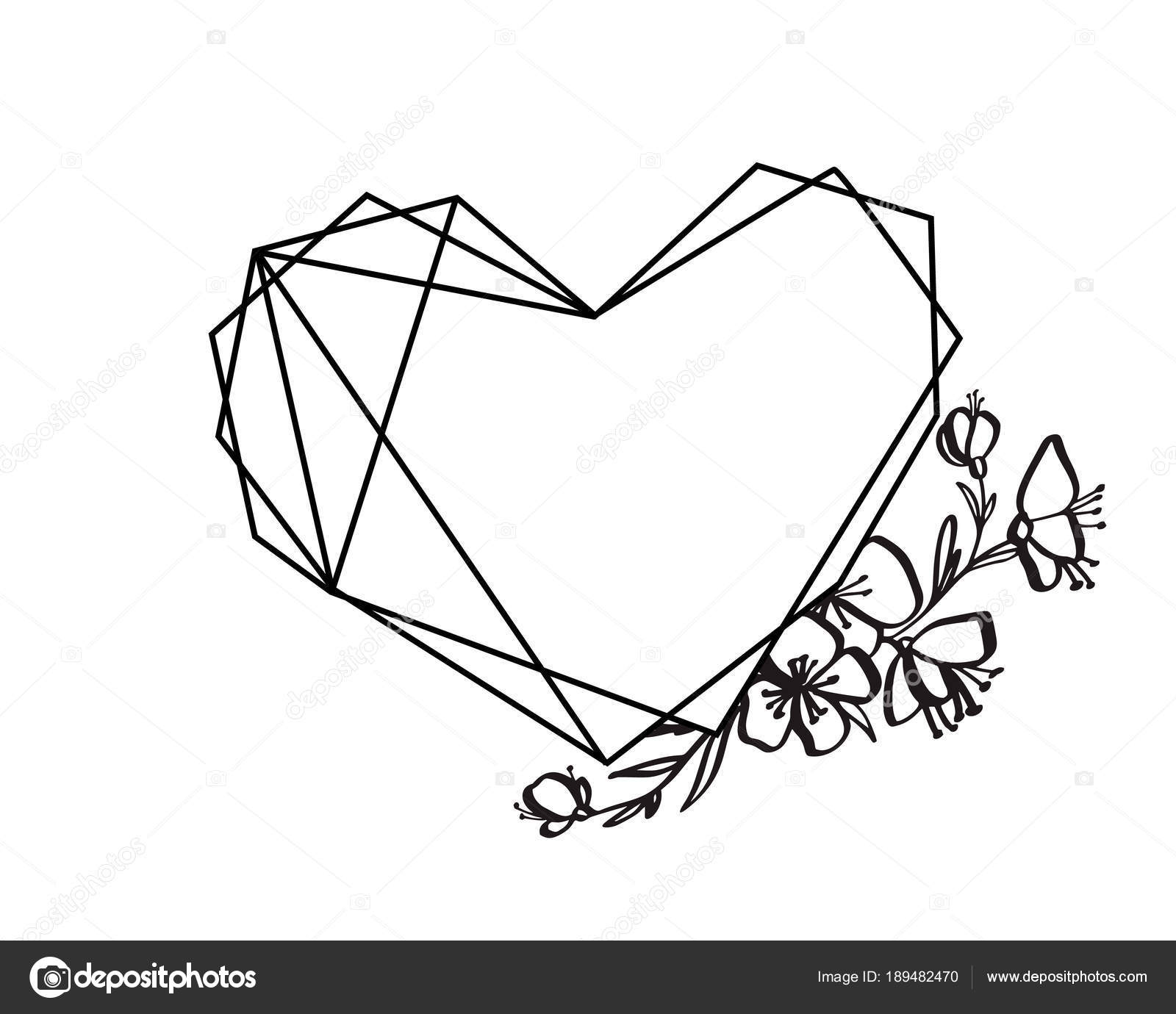 Graphic floral geometry heart frame. Vector leaves and flowers in ...