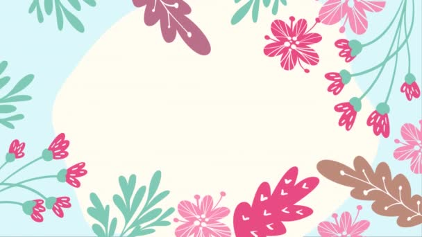 Floral scandinavian frame with flowers and leaves and with place for your text. Beautiful animation footage for Mothers Day, wedding, scrapbooking. Full HD video