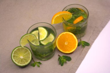 Lemonade with lime and mint. Summer drink
