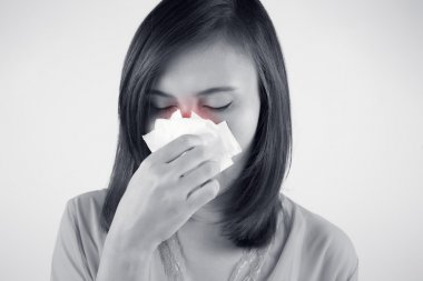 Asian caucasian woman with flu, Cold
