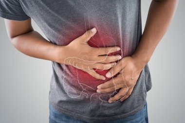 The photo of large intestine is on the man's body