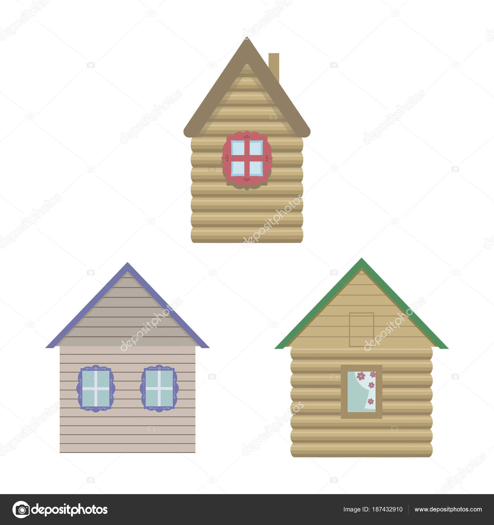 vector brown light cute wooden houses with windows and multi-colored ...