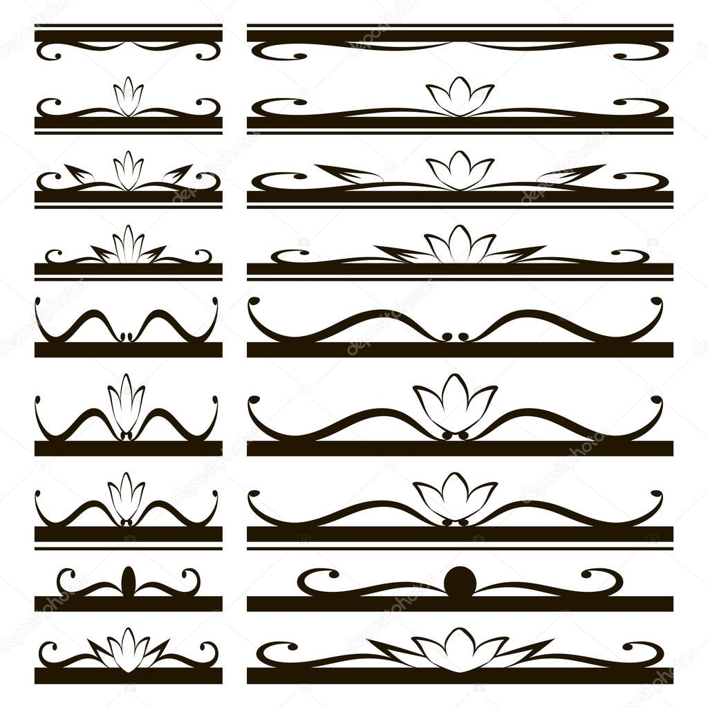 black subtle shapes and figures of lines and curls ornaments for booklets Roofs and covers with flowers