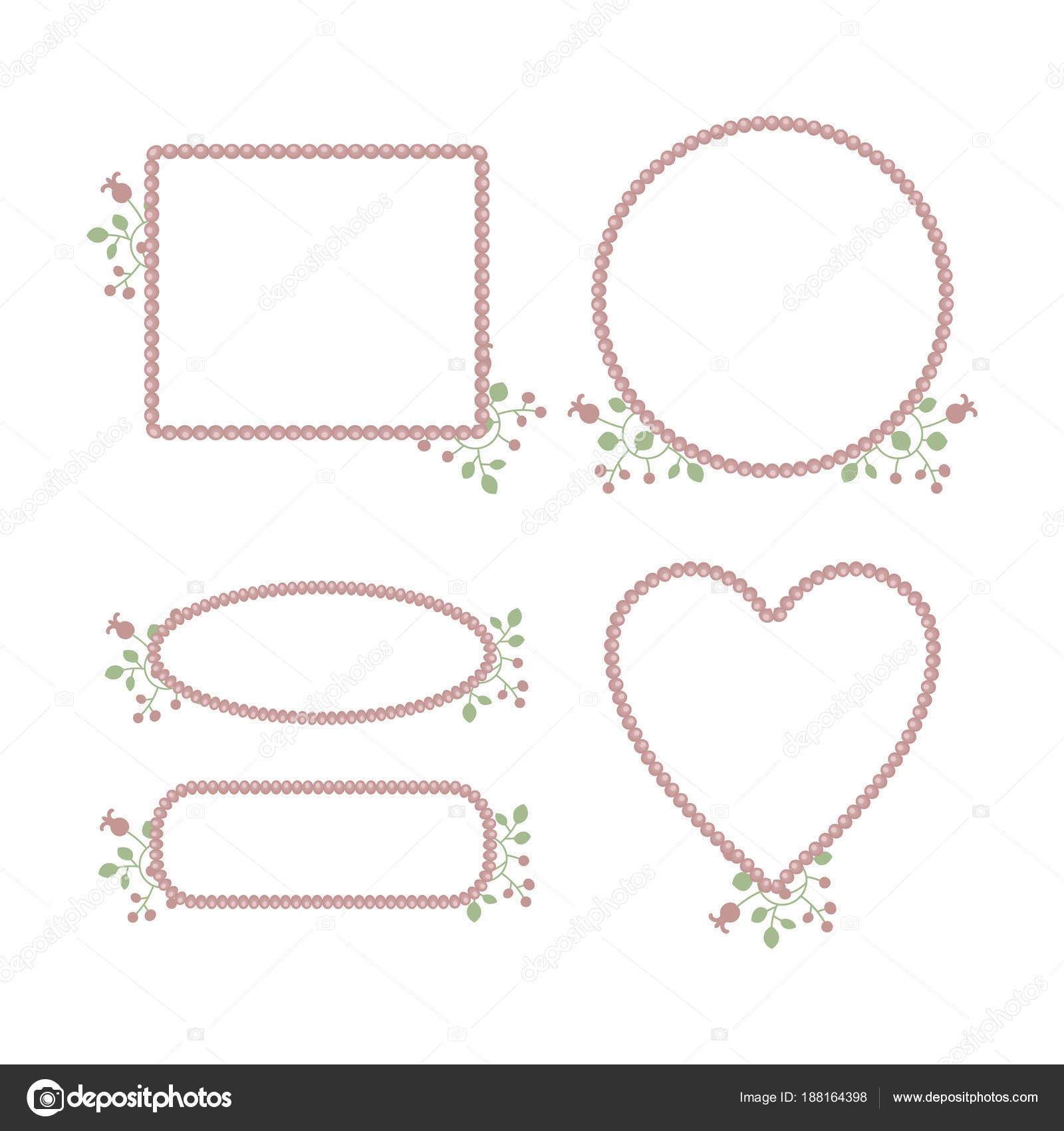 Rosa süße zarte Prinzessin Perle Rahmen mit floralen Mustern ...