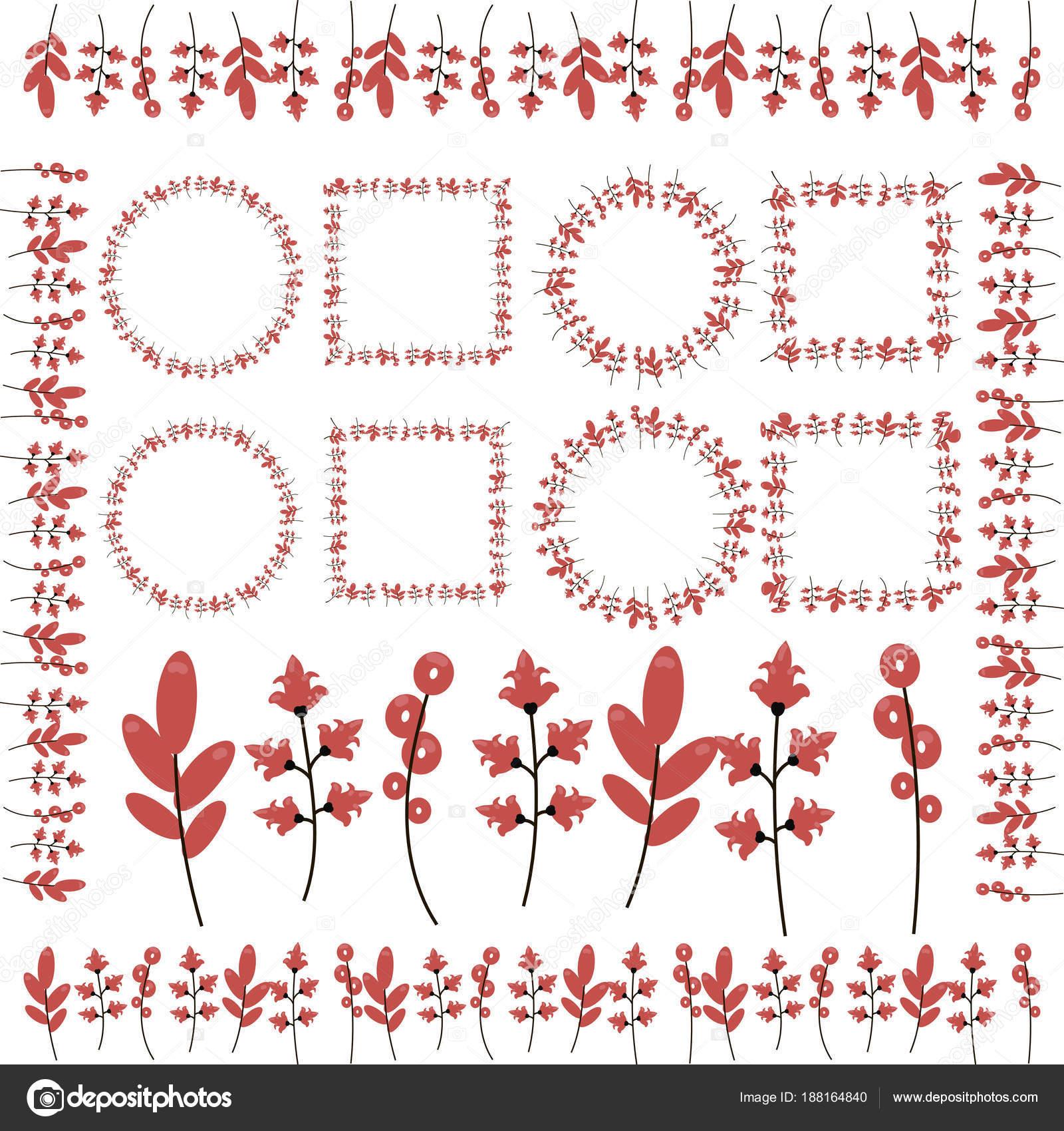 Zweige mit roten Blumen, locken, Blätter, Bilderrahmen und ...