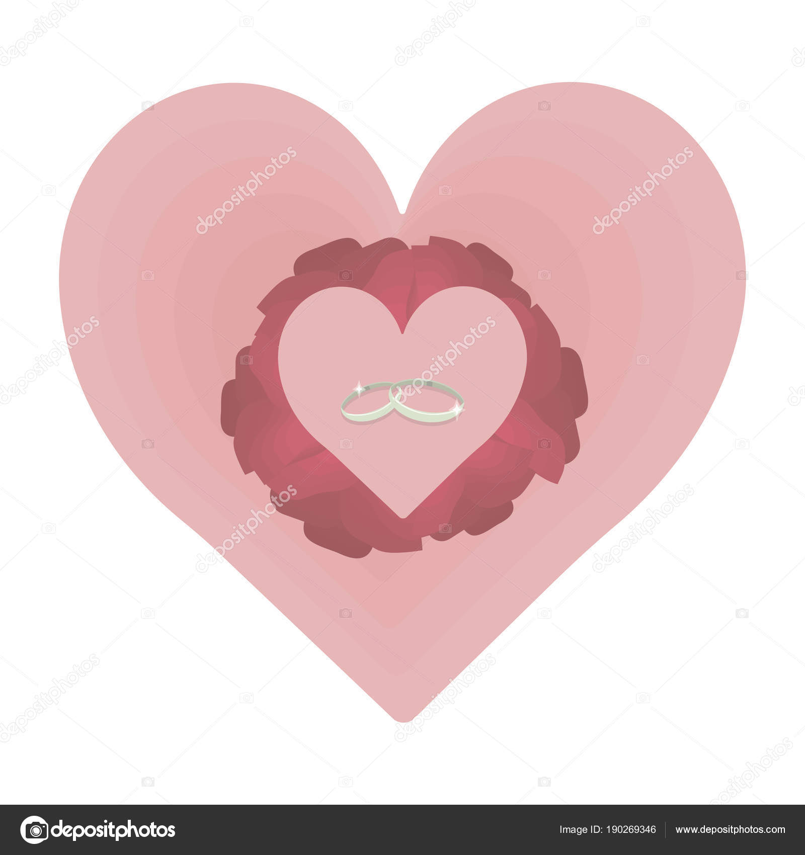 pink tender heart with a composition of red rose petals with wedding ...