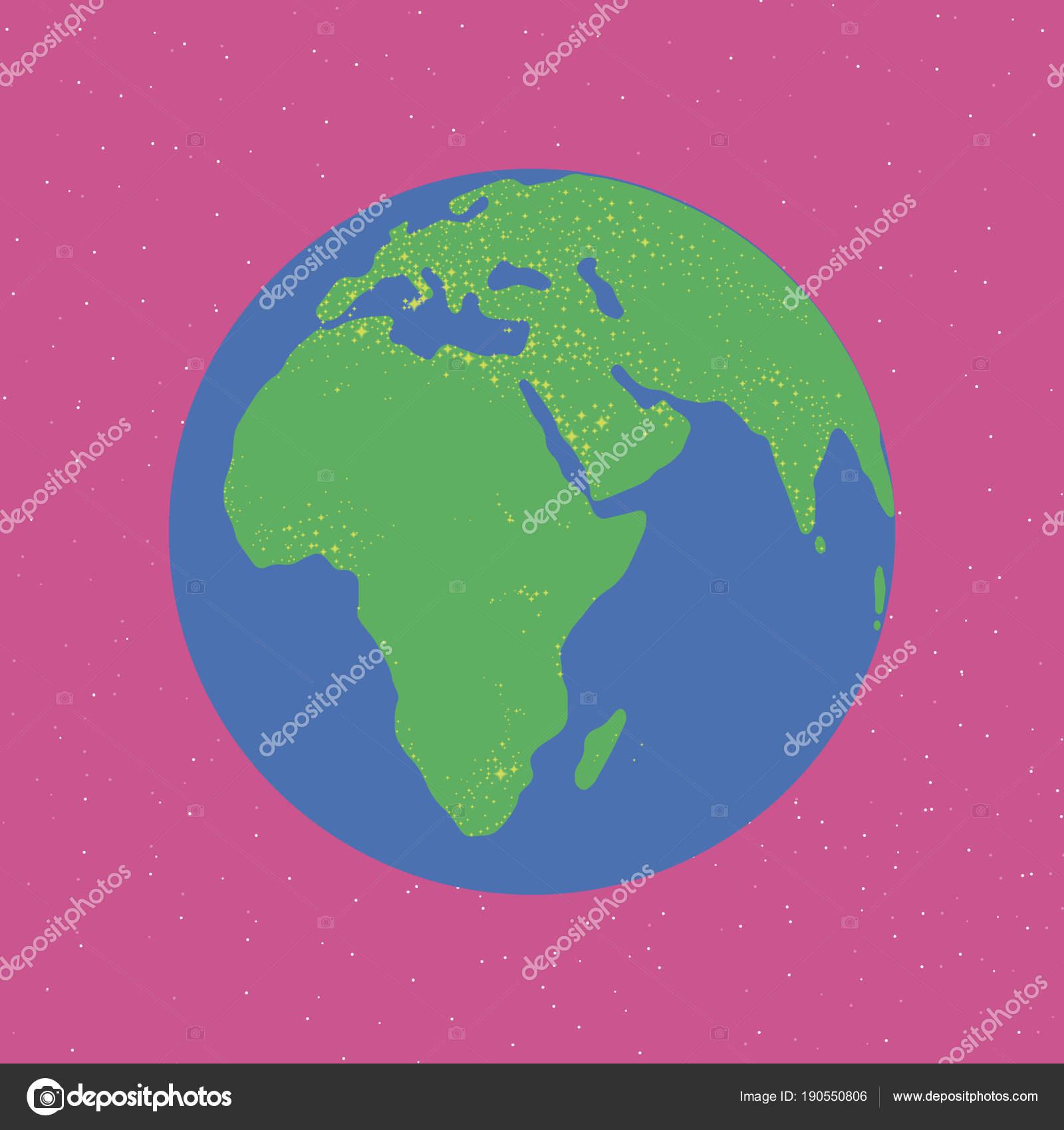 hell blau und grün leuchtenden Kontinente Eurasien Afrika ...