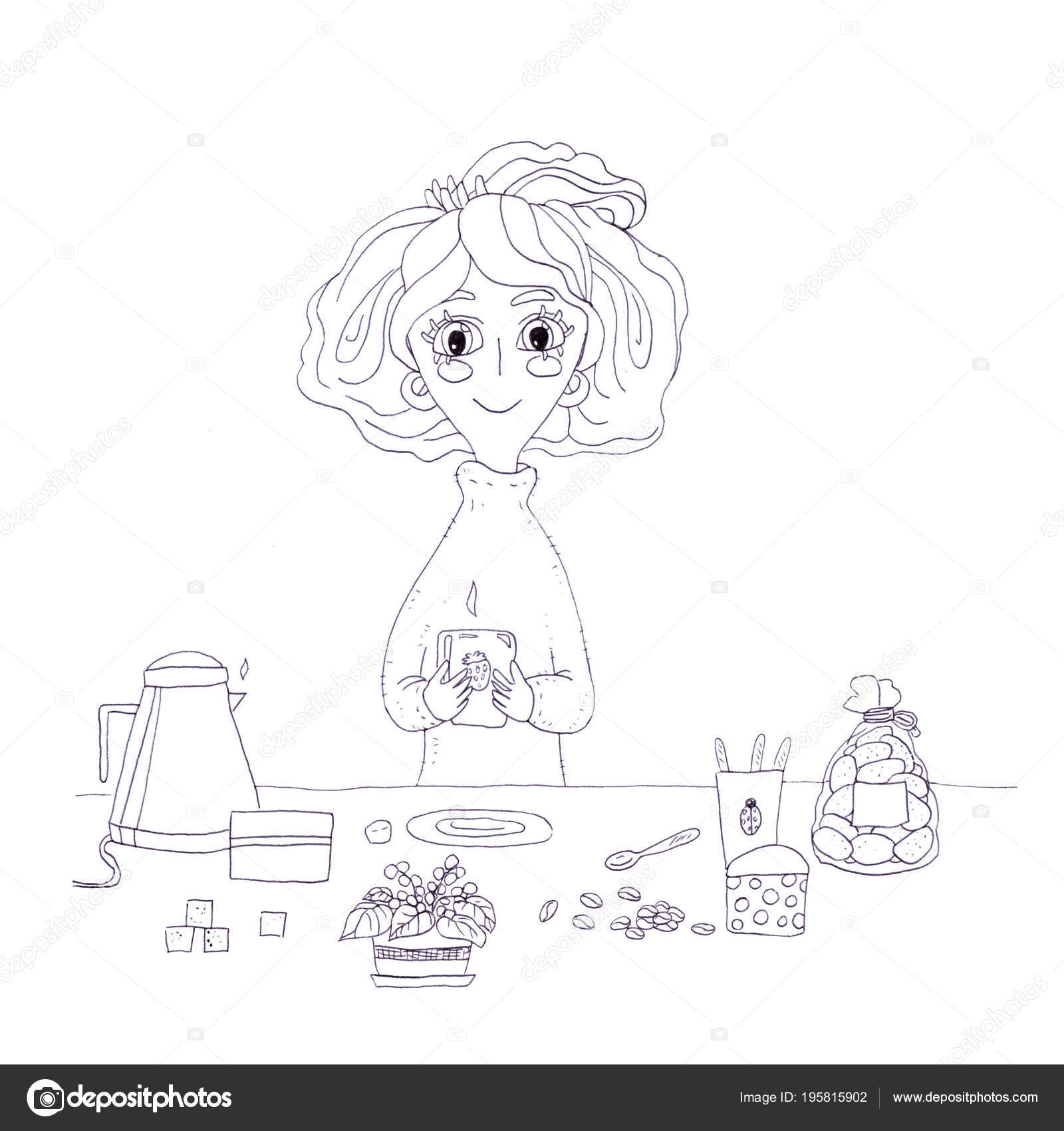Jolie Fille Personnage Dessin Animé Café Tasse Café Matinale