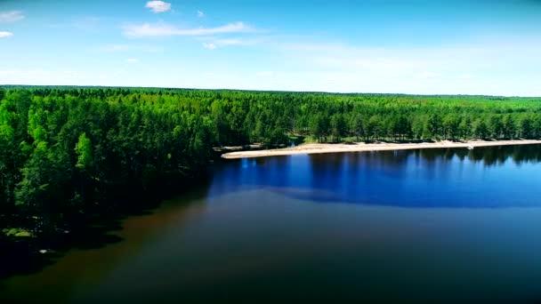 Čistá voda jezera a zelený les. Oněžské jezero v Rusku. Onejskoe ozero. Aero letecká DRONY.