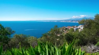 Timelapse of sunny Nice town panorama. France. French riviera.