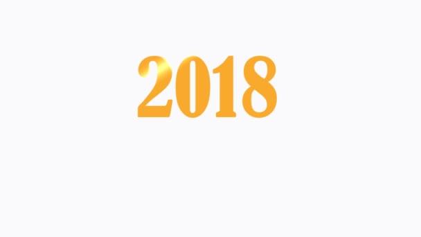 2018 boldog új évet grafikus klip felvételeket a vállalati logó bemutató a fehér háttér