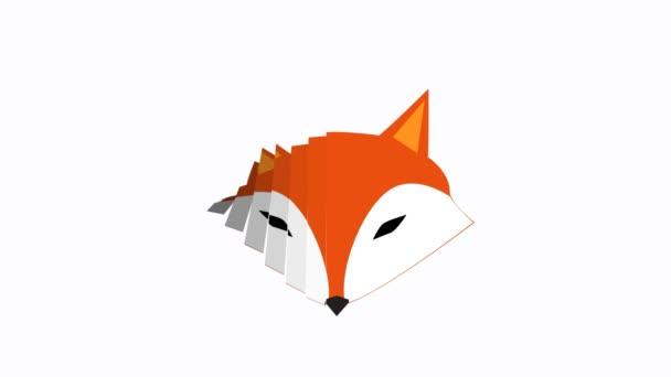 Fox motion grafika klipu záběry pro prezentaci firmy logo na bílém pozadí solidní
