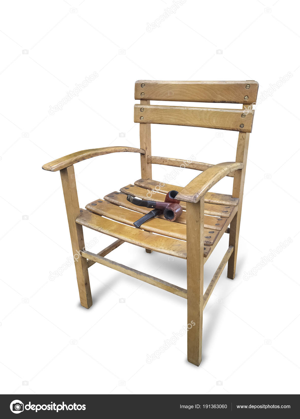 Old Fashioned Wood School Chair Tobacco Pipe Stock Photo