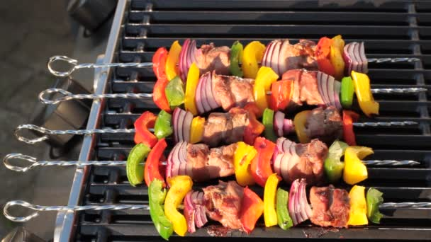 Barbecue. Ražniči s grilovanými paprikami a cibulí, na rozpáleném grilu