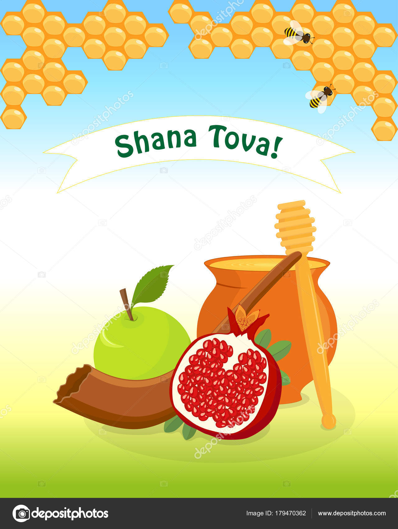 Jewish New Year Rosh Hashanah Stock Vector Valenzi 179470362