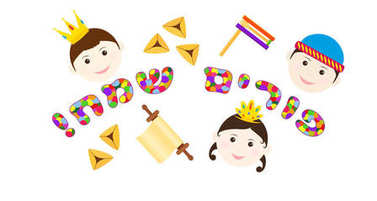 Jewish holiday of Purim, children and inscription