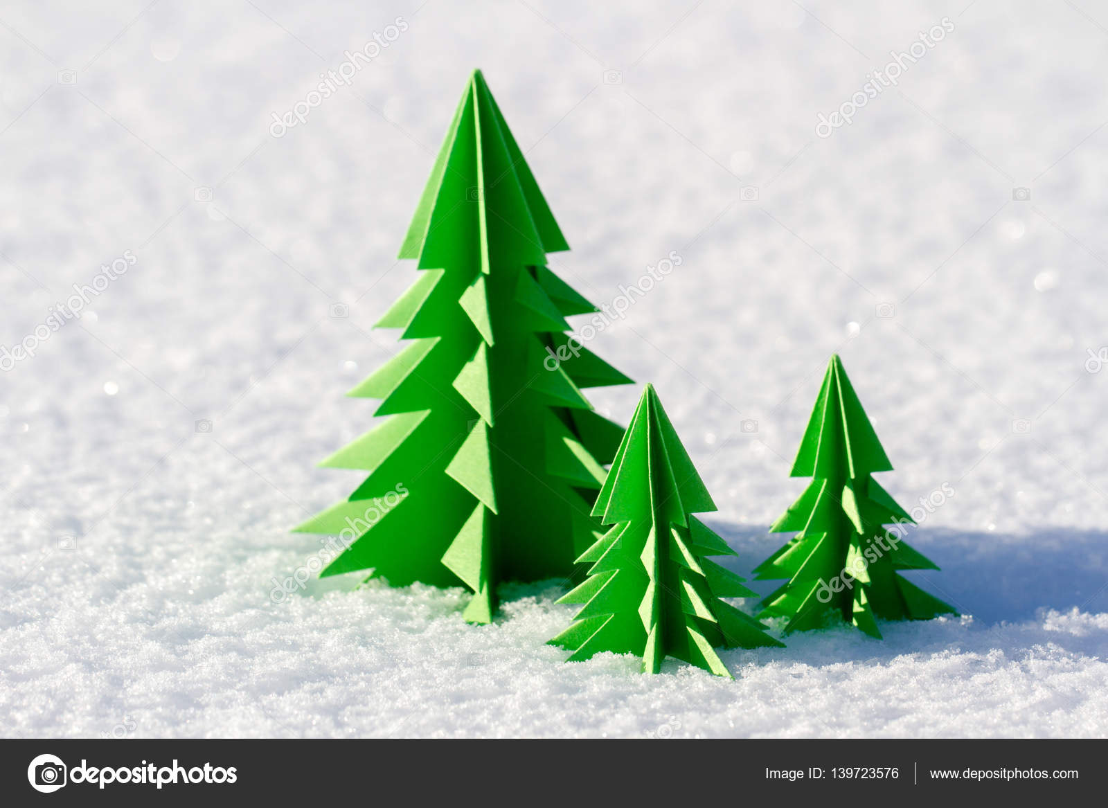 Colorful Christmas tree out of paper in the snow. — Stock Photo ...