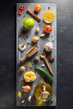 spices and herbs on table