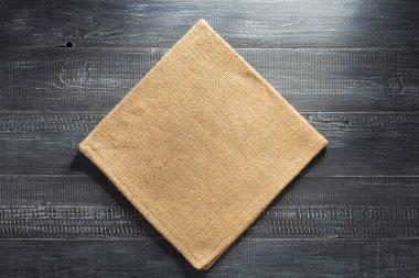 burlap hessian napkin on wood